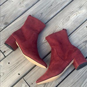 New! Aldo Deep Red Faux-Suede Ankle Bootie